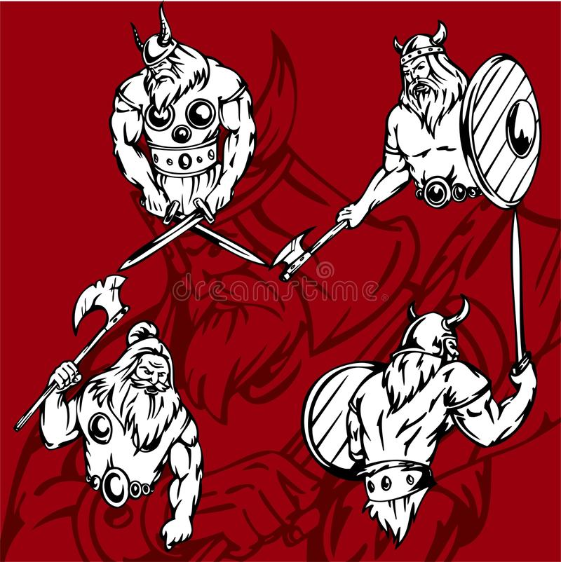 Download Vikings. stock vector. Illustration of people, middle - 15166879