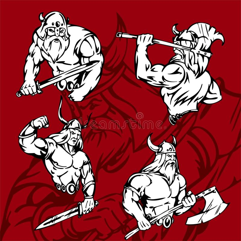 Download Vikings. stock vector. Image of middle, ready, muscular - 15166888