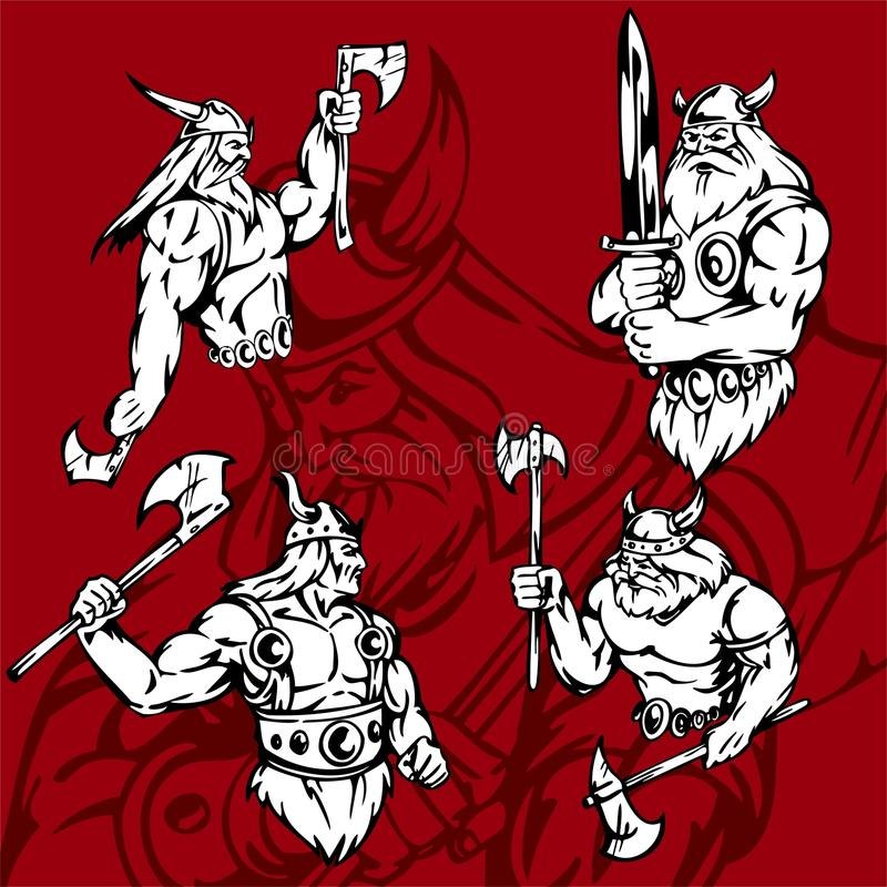 Vikings. Vikings with different weapons and different poses royalty free illustration