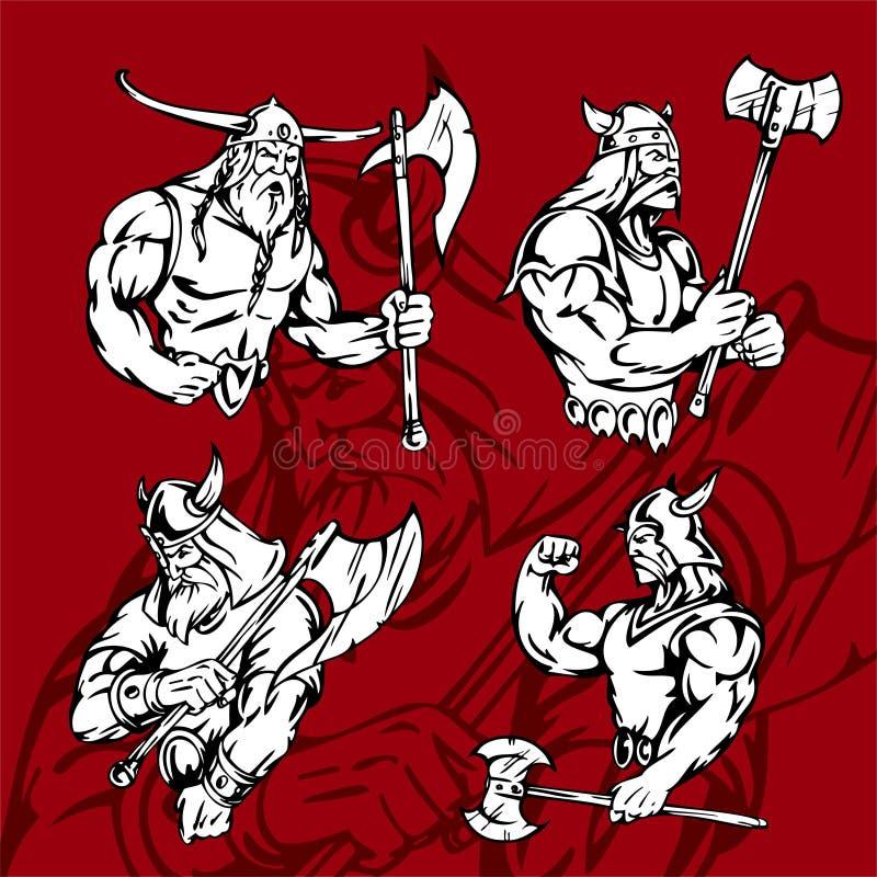 Download Vikings. stock vector. Image of middle, horned, helmet - 15166897