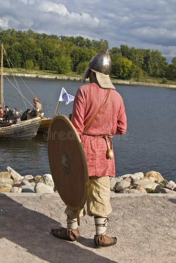 Vikings on boat, historical festival stock photos