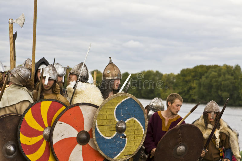 Vikings on boat, historical festival royalty free stock photography