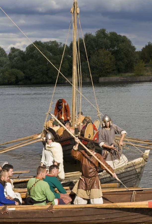 Vikings on boat, historical festival royalty free stock photos