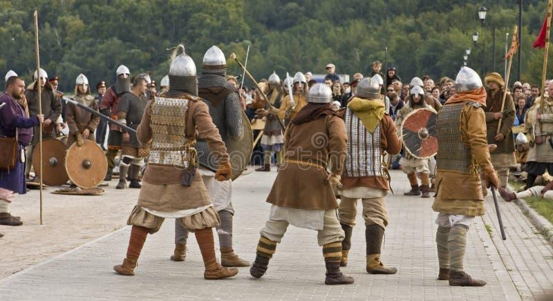 Vikings on boats royalty free stock photo
