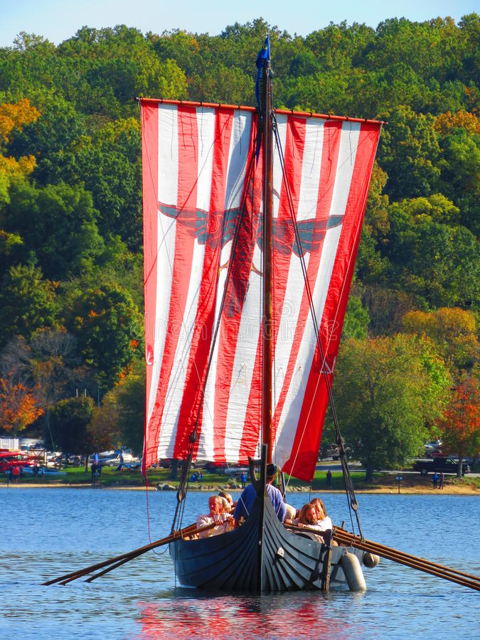 The Vikings are Coming. Leif Erikson Day 2015 at Marsh Creek County Park in Chester County, Pennsylvania royalty free stock photo
