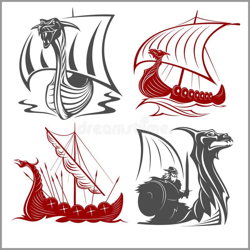 Vikings embarque - le vecteur réglé sur le fond blanc illustration libre de droits