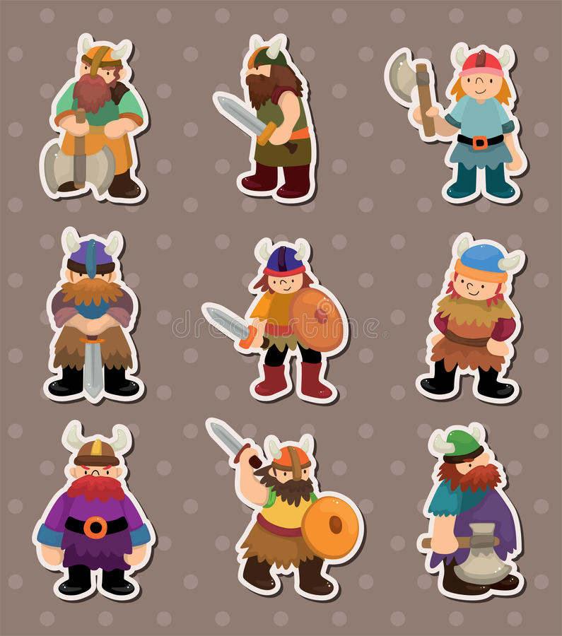 Vikings people stickers royalty free illustration