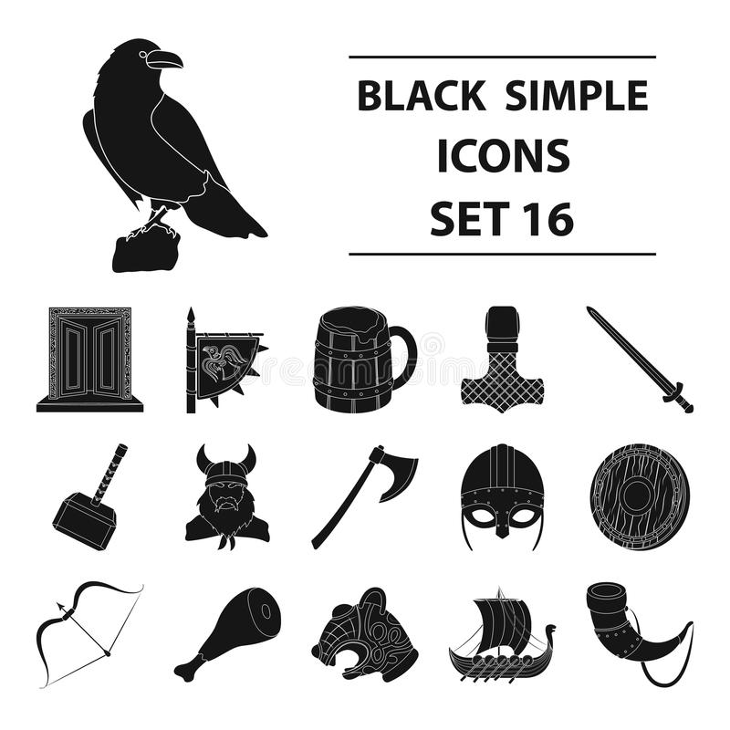 Vikings Set Icons In Black Style Big Collection Of Vikings Vector