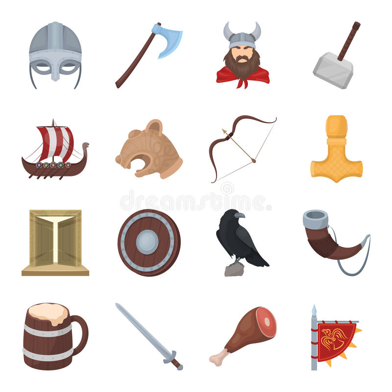 Vikings set icons in cartoon style. Big collection of vikings vector symbol stock illustration stock illustration