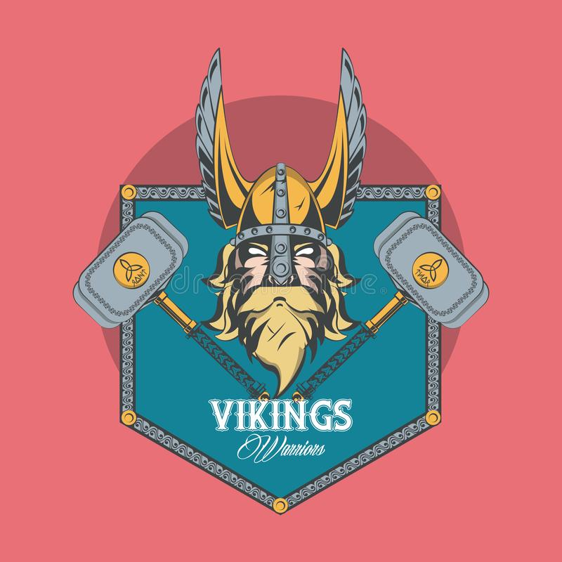 Vikings warriors printed tshirt template. Vikings warriors and medieval drawings weapons, printed Tshirt templates, clothes and fashion styles. vector royalty free illustration