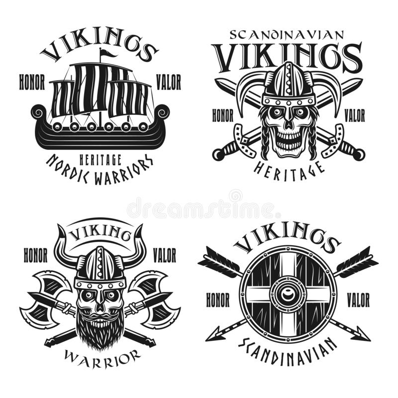 Vikings warriors vector emblems, labels, badges. Logos or t-shirt prints in monochrome vintage style isolated on white background vector illustration