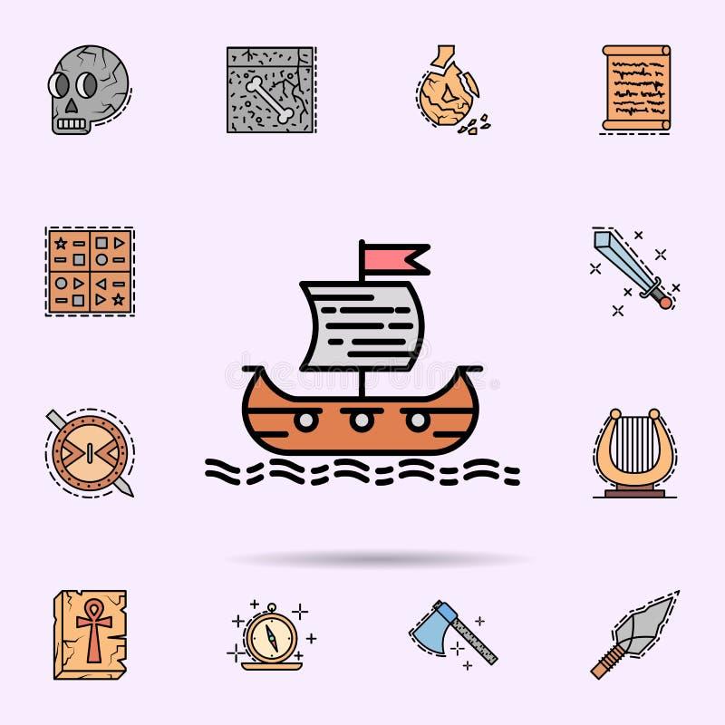 Vikingskepp, skyttel, hav, trans., flaggasymbol E stock illustrationer