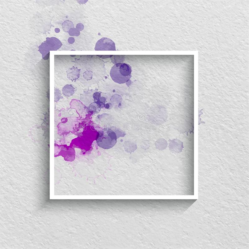 Watercolor Stylized Frame in Blue Colors on a White Textured paper Background. Hand drawn watercolor elements vector illustration