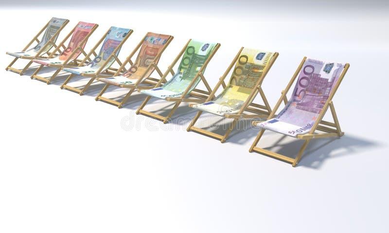 Vikningstolar i ett område av 5 till 500 euro vektor illustrationer