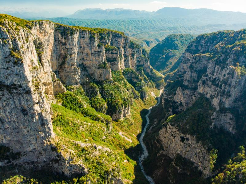 Vikos Gorge, a gorge in the Pindus Mountains of northern Greece, lying on the southern slopes of Mount Tymfi, one of the deepest royalty free stock photo