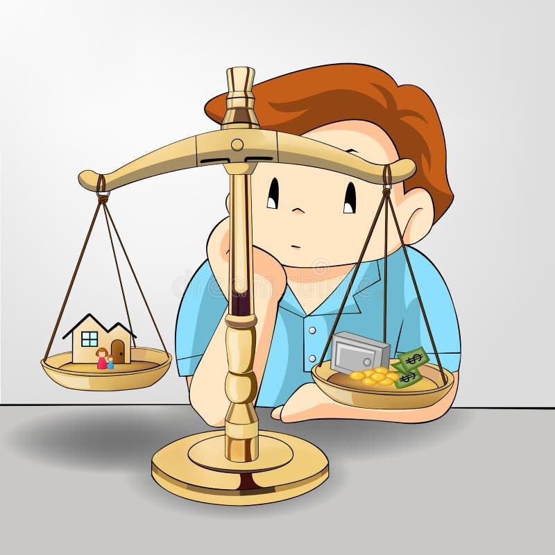 Vikt mellan arbete-pengar och ditt familjförhållande stock illustrationer
