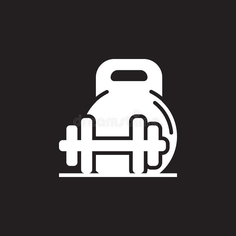 Vikt- och skivstångsymbolsvektor, plant tecken för heltäckande, pictogram som isoleras på svart royaltyfri illustrationer