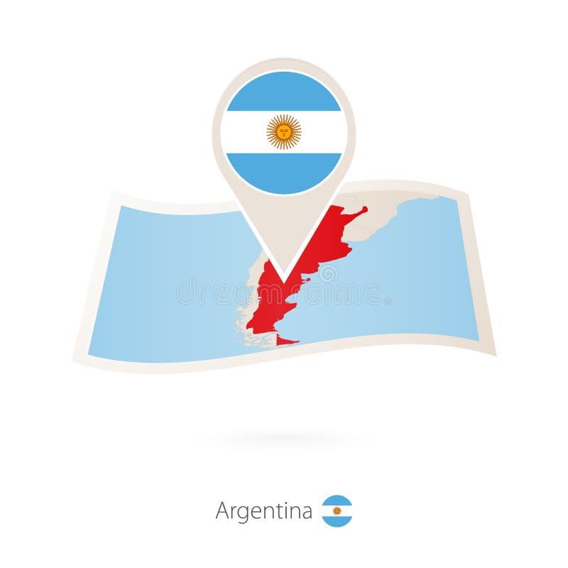 Vikt pappersöversikt av Argentina med flaggastiftet av Argentina stock illustrationer