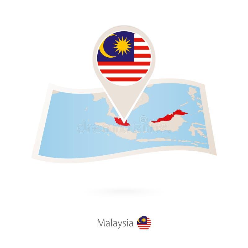 Vikt pappersöversikt av Malaysia med flaggastiftet av Malaysia vektor illustrationer