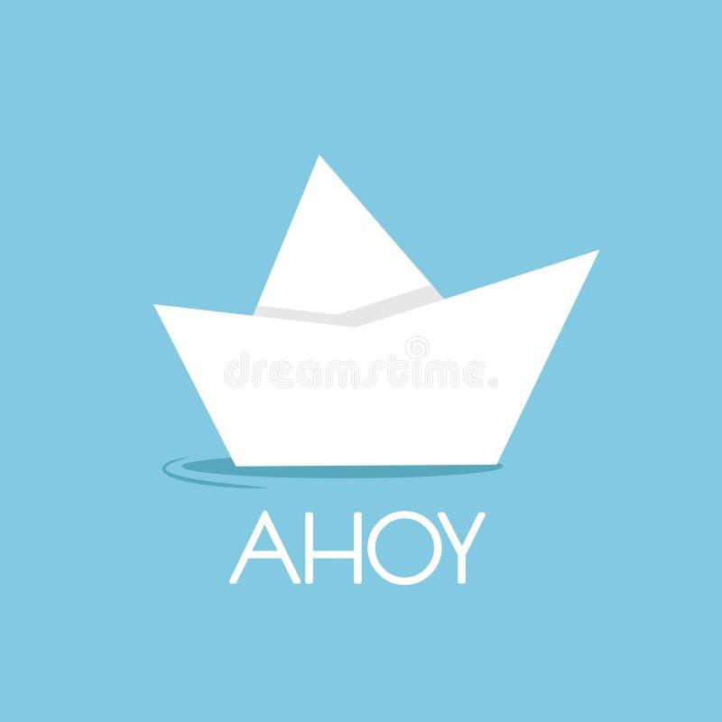 Vikt pappersfartyg som isoleras på blått med ord ahoy Bakgrund för pulverblått stock illustrationer