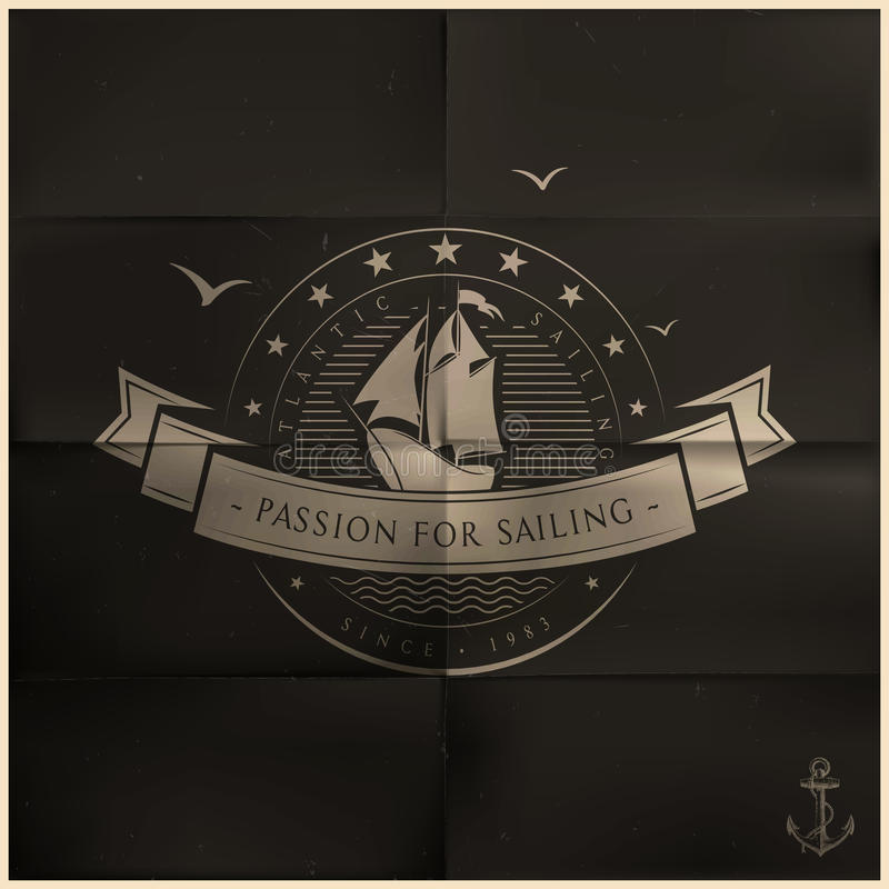 Vikt svart seglingemblem stock illustrationer