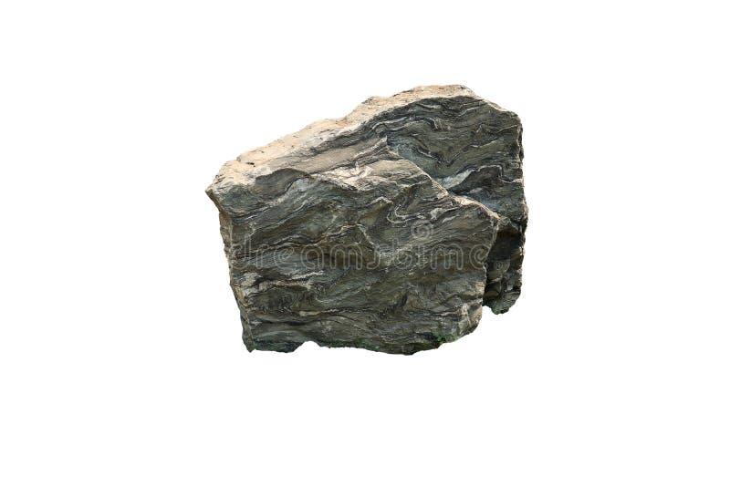 Vikta lager av calc-silikat vaggar en typ av metamorphic vaggar från ett berg, Thailand isolerade på vit bakgrund royaltyfri fotografi
