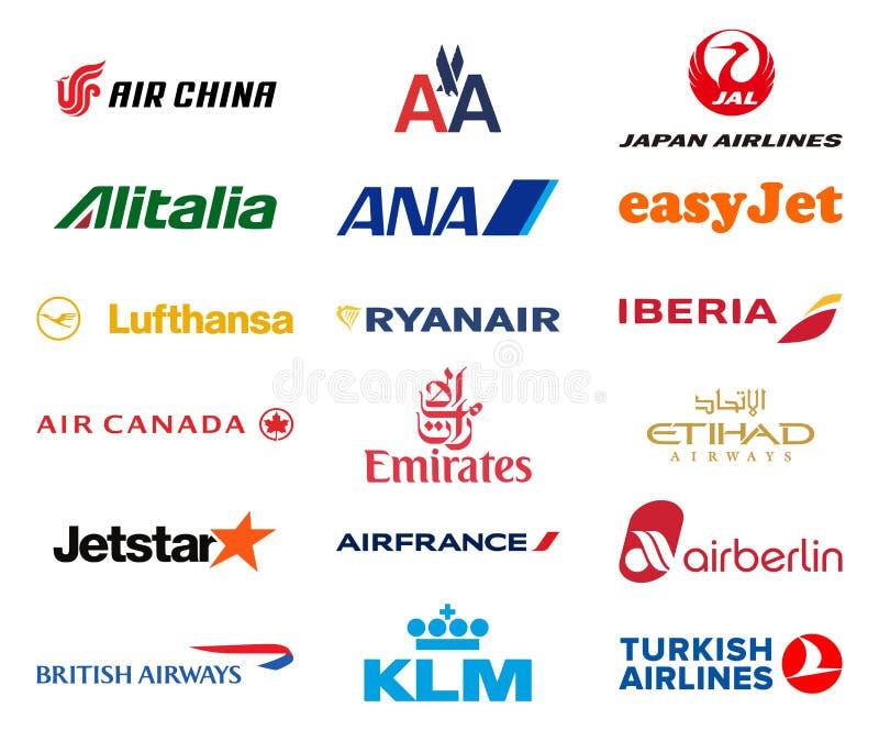 Viktig flygbolaglogosamling vektor illustrationer