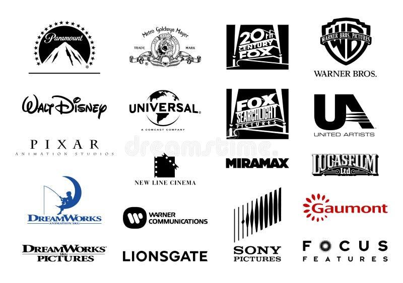 Viktiga logoer för vektor för filmstudior vektor illustrationer