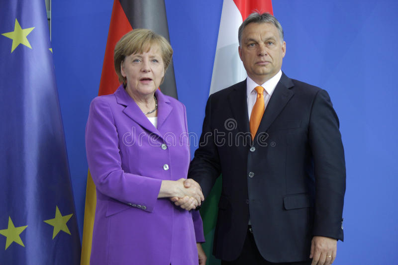 Viktor Orban, Angela Merkel. MAY 8, 2014 - BERLIN: Viktor Orban, Angela Merkel at a press conference before a meeting of the German Chancellor with the Prime stock images