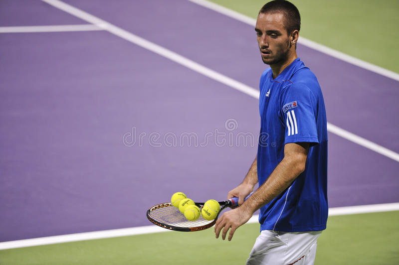Viktor Troicki at the ATP tennis in Doha stock images