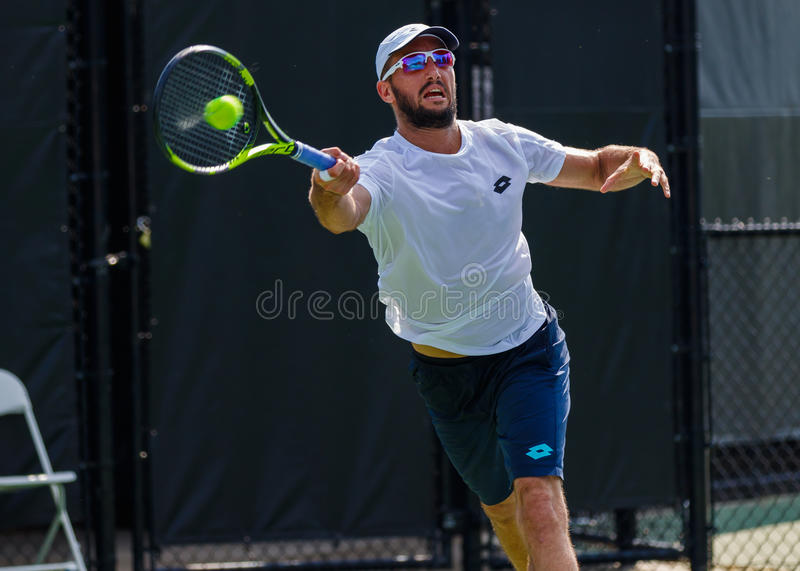 Viktor Troicki plays at the Winston-Salem Open royalty free stock photography