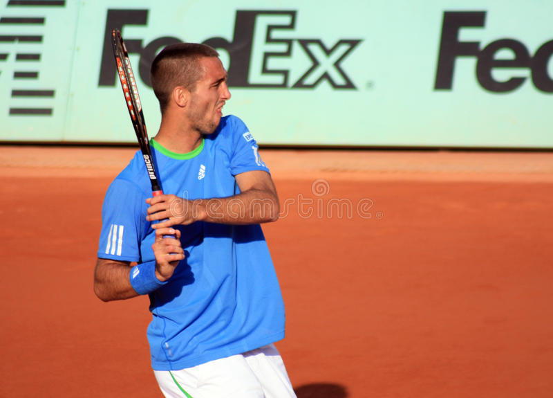 Viktor Troicki at Roland Garros in 2011 royalty free stock images