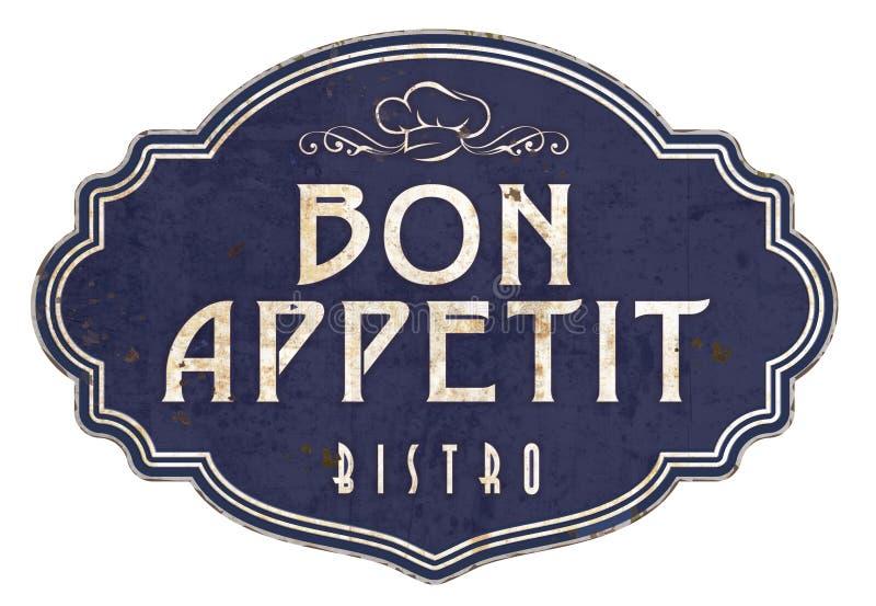 Viktorianische Email-Bistros Bon Appetit Kitchen Sign Plaques lizenzfreie abbildung