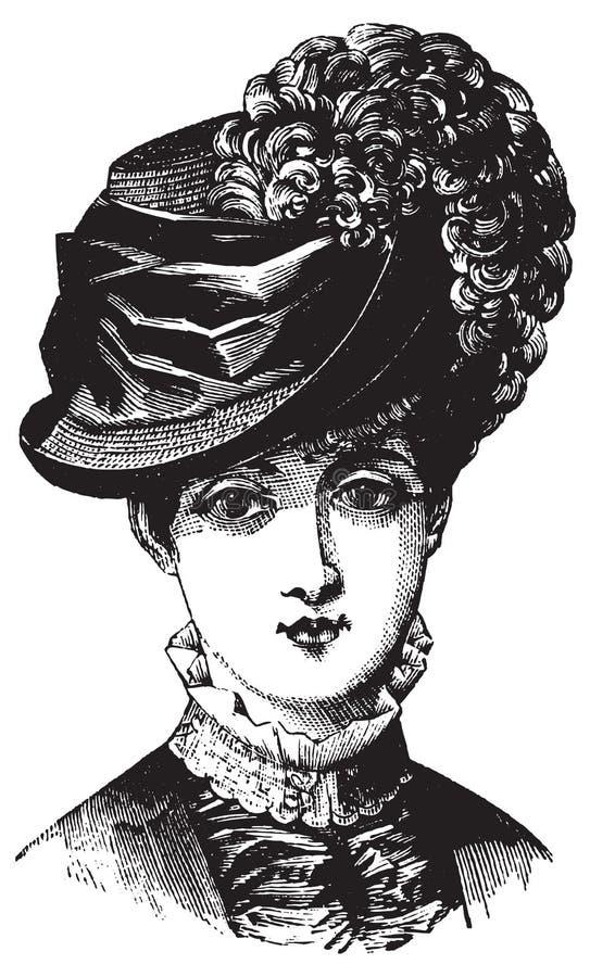 Viktorianische Illustration der Frau im Hut lizenzfreie abbildung