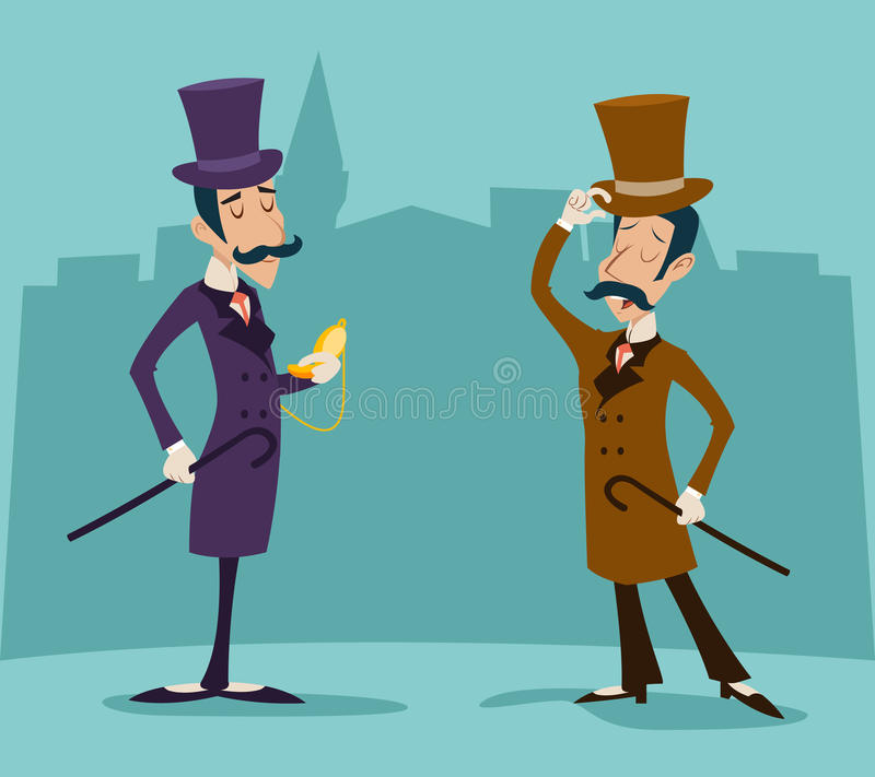 Viktorianischer Herr-Sitzungs-Geschäftsmann Cartoon vektor abbildung