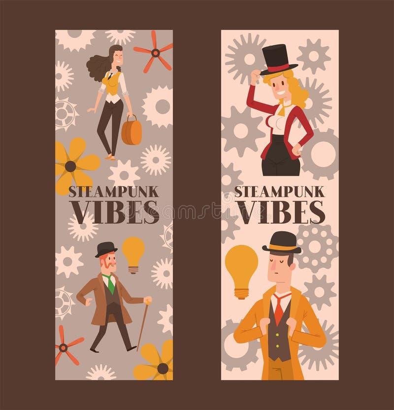 Viktorianischer Leutevektorherr im Hut- und Frauencharakter im Weinlesemodekleid auf Retro- Parteiillustration lizenzfreie abbildung