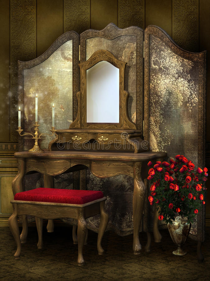 Viktorianischer Raum mit Rosen lizenzfreie abbildung
