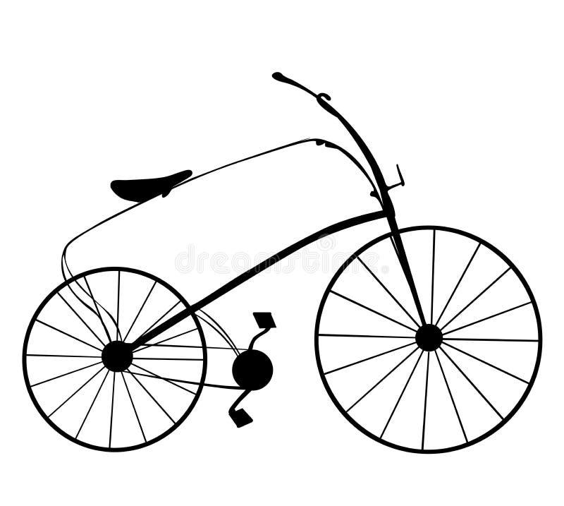Viktorianisches Retro- Fahrradschattenbild lokalisiert auf weißem Hintergrund vektor abbildung