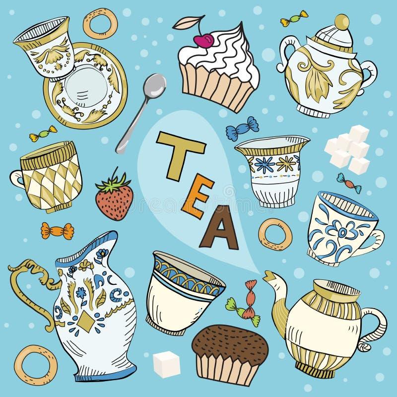 Viktorianisches Teeset der Karikatur lizenzfreie abbildung
