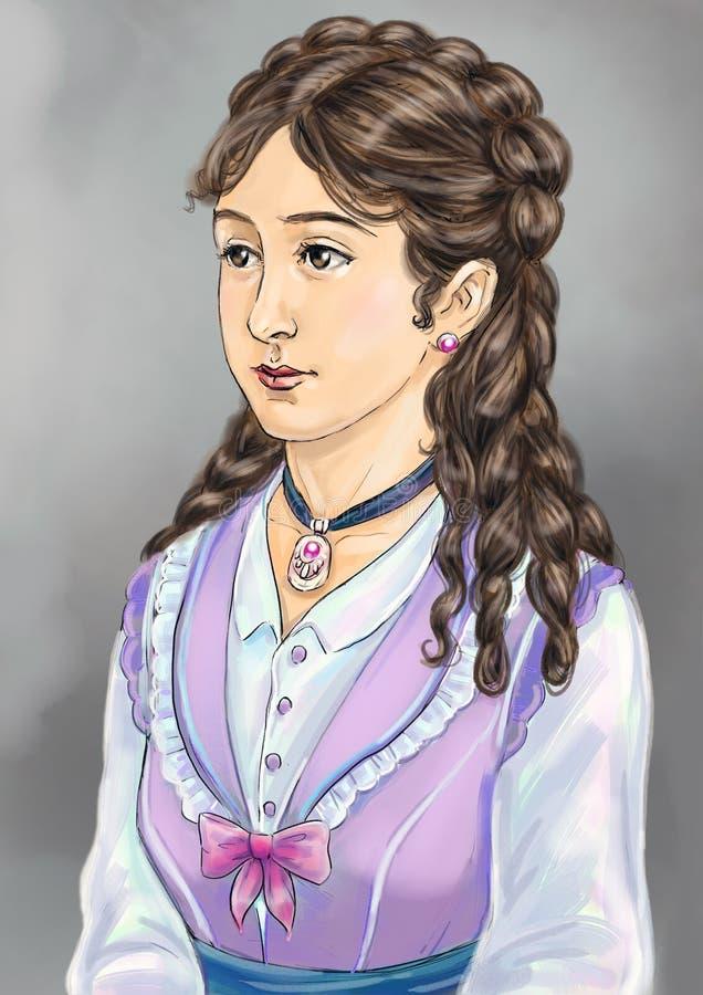 Viktoriansk dam royaltyfri illustrationer