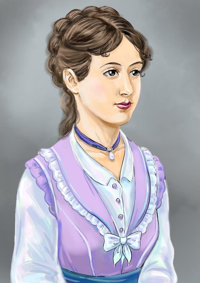 Viktoriansk dam stock illustrationer