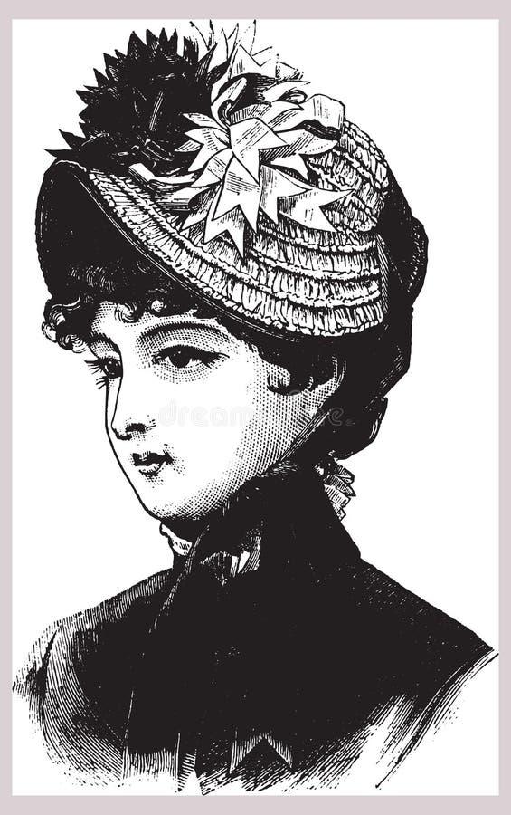 Viktoriansk illustration av kvinnan i hatt stock illustrationer