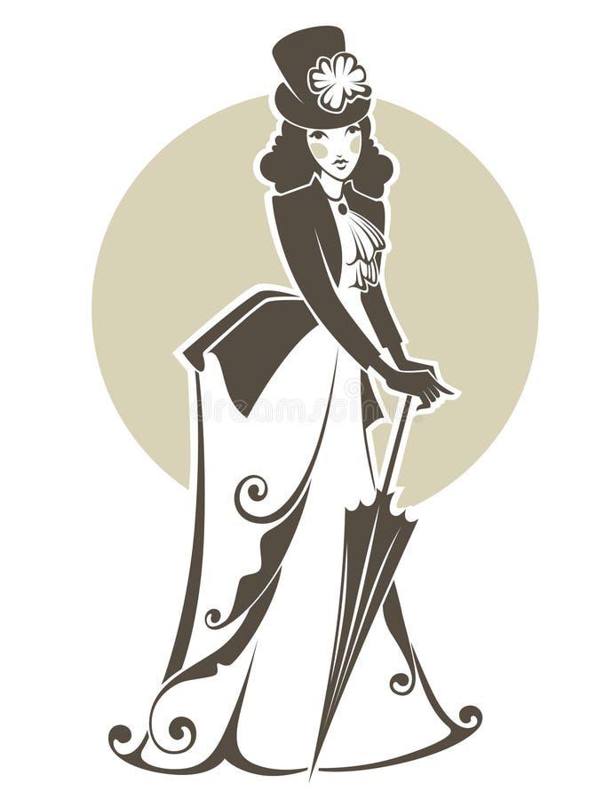 Viktoriansk kvinna stock illustrationer