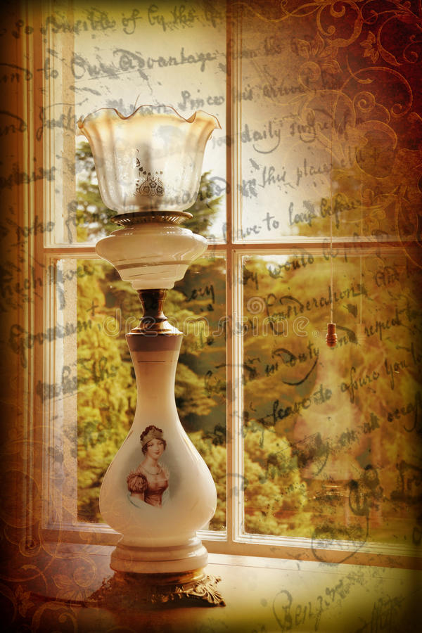 Viktoriansk lampa vid fönstret vektor illustrationer