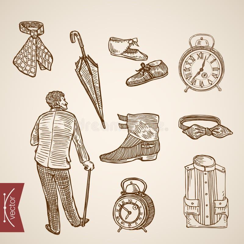 Viktoriansk manlig vektor för tappning för gravyr för kläderfoowearkänga stock illustrationer