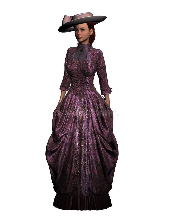 Viktoriansk stilkvinna royaltyfri illustrationer