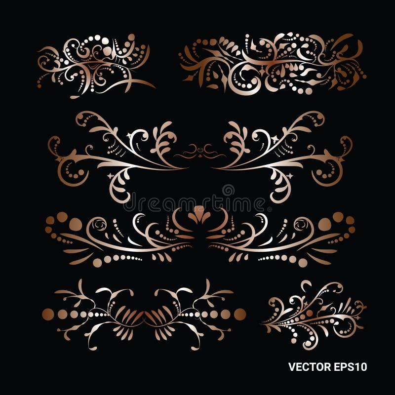 Viktoriansk upps?ttning av guld- utsmyckade likedividers f?r sidadekorbest?ndsdelar vektor illustrationer