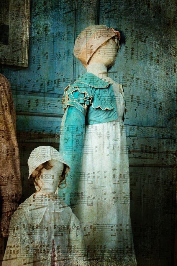 Viktorianska kläder på skyltdockor royaltyfri fotografi