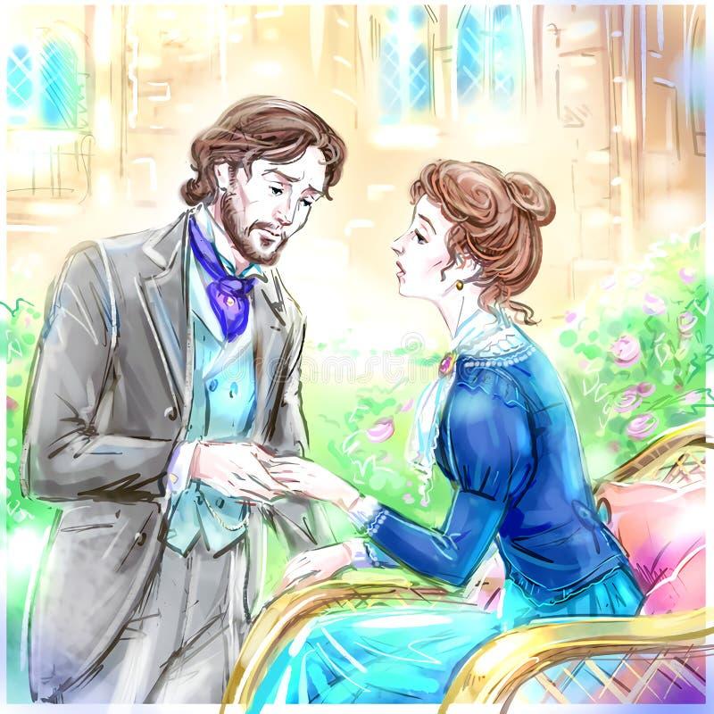 Viktorianska romantiska par i de trädgårds- innehavhänderna stock illustrationer