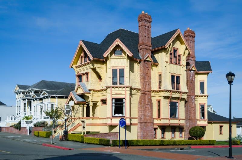 Viktorianskt hus i Eurekaen som är i stadens centrum i Kalifornien arkivfoto